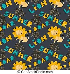 Vector pattern cute kawaii cartoon funny lion.