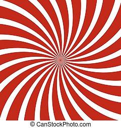 vector, pattern., espiral, hipnosis, óptico, illusion., rojo
