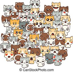 Ilustration with cats and dogs for design of posters, prints, invitations, greetings, childbook, flyers and antistress pictures for coloring.