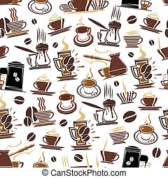 Vector pattern of coffee cups and beans - Coffee pattern...