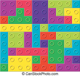 vector pattern of colorful plastic blocks
