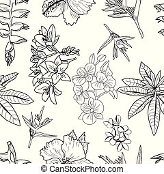 Vector pattern of hand drawn exotic tropical flowers, leaves, jungle plants.