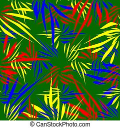 Vector pattern of kaleidoscopic ornaments of bright multi colored blades of grass on a green background in vintage style.