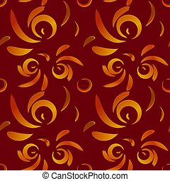 Vector pattern of red doodles and curls in floral ornament in ethnic style on claret background.