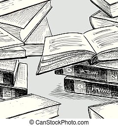 Vector pattern of the books stacks