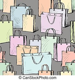 vector pattern of the purchases bags