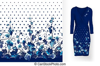 Vector pattern of vines with leaves and berries on classic...