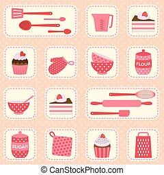 Vector pattern on baking theme - Cute vector pattern on...