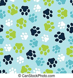 Vector pattern seamless of background animal blue footprints and paw