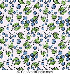 blueberry - vector pattern, seamless Wallpaper with...