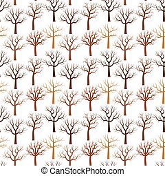 Vector pattern with bare tree in brown color on white background