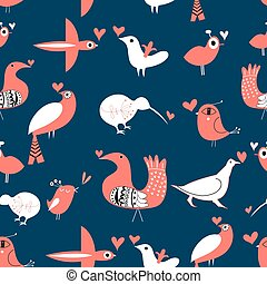 Vector pattern with birds in love