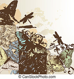 Vector pattern with butterflies