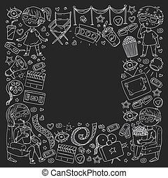 Vector pattern with cinema icons of movie theater, TV, popcorn, video clip.