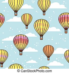 pattern with clouds and balloons