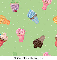 Vector Pattern with Cupcakes