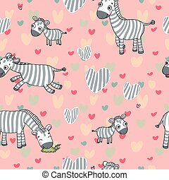 vector pattern with cute zebras on a pink background.