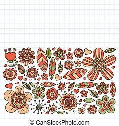 Vector pattern with doodle flowers and leaves