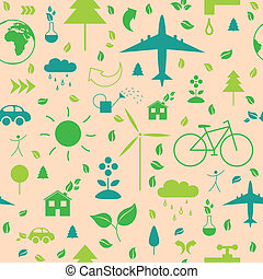 Vector Pattern with Ecology Icons