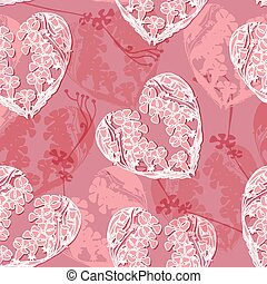 Vector pattern with  floral doodle heart.