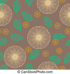 Seamless vector pattern with stylized flowers in thin lines in organic brown color. Texture for web, print, wallpaper, home decor, summer fashion textile or fabric, wedding invitation background