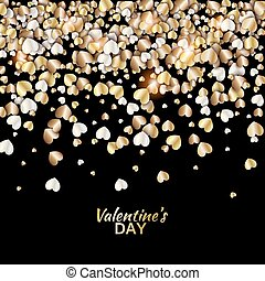 Vector pattern with gold hearts on black background