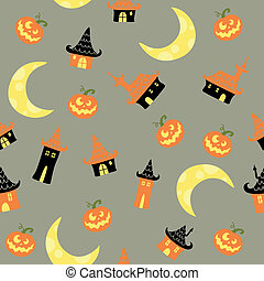 Vector Pattern with Halloween Elements