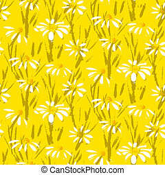Vector pattern with hand drawn daisy flowers - Grunge floral...