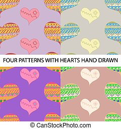 vector pattern with hearts seamless