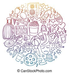 Vector pattern with icons for beauty and shopping. Icons for beauty, shopping, fashion, shopping mall, strip mall. Sale, discount.