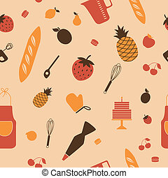 Vector Pattern with Kitchen Tools