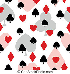 Vector Pattern with Playing Card Elements - Seamless Vector...