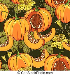 Vector pattern with pumpkins