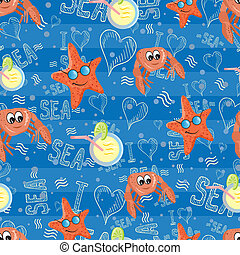 Vector pattern with sea life