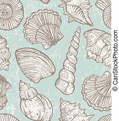 Vector pattern with sea shells - Seamless pattern with hand-...