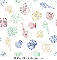Vector pattern with shells.