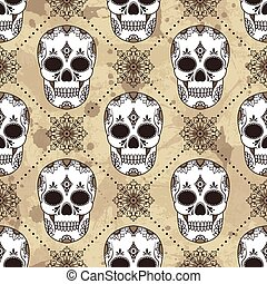vector pattern with skulls
