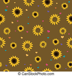 Vector Pattern with Sunflowers