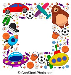 Vector pattern with toys for kids. Car, ufo, alien, airplane, teddy bear.