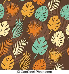 vector pattern with tropical leaves