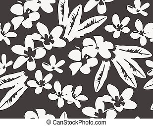 vector pattern with tropical plumeria flowers and leaves