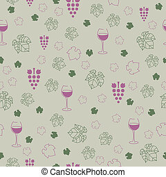 Vector Pattern with Wine Elements - Seamless Vector Pattern...