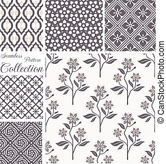 Vector patterns collection. Set of seamless floral backgrounds.