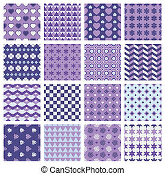 vector set of 16 seamless patterns with flowers and hearts