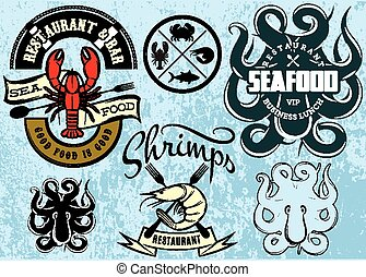 vector patterns with lobster, octopus, shrimp for logo design seafood