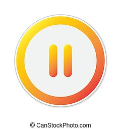 Vector Pause button isolated. Color pause icon. Round button...