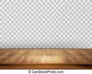 vector., pavimento, legno, indietro, wall., fondo, trasparente