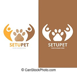 Vector paw and people logo combination. Pet and family symbol or icon. Unique vet and union, help, connect, team logotype design template.