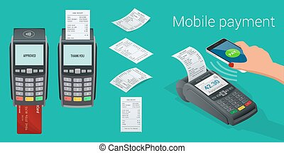 Vector payment machine and credit card. POS terminal...