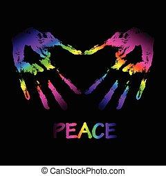 """vector, paz, y, amor, """"graffiti"""", illustration., dos manos, marca, un"""
